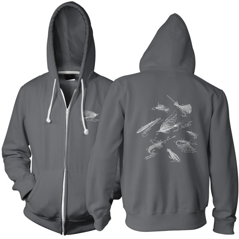 Fly fishing flies ms lineart zip hoodie patentwear for Fly fishing hoodie