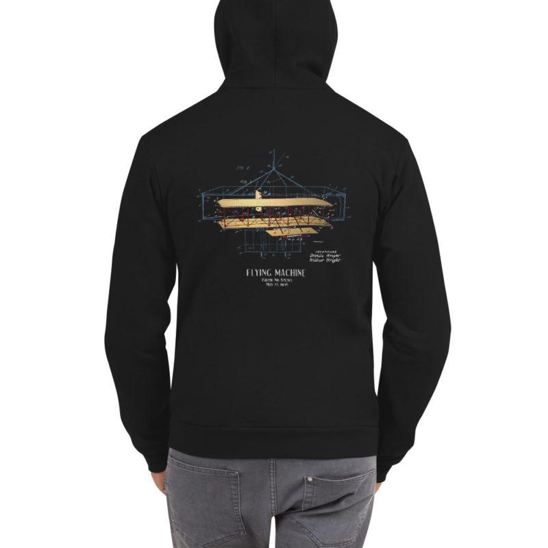 Flying Machine Zip Hoodie Back BLACK