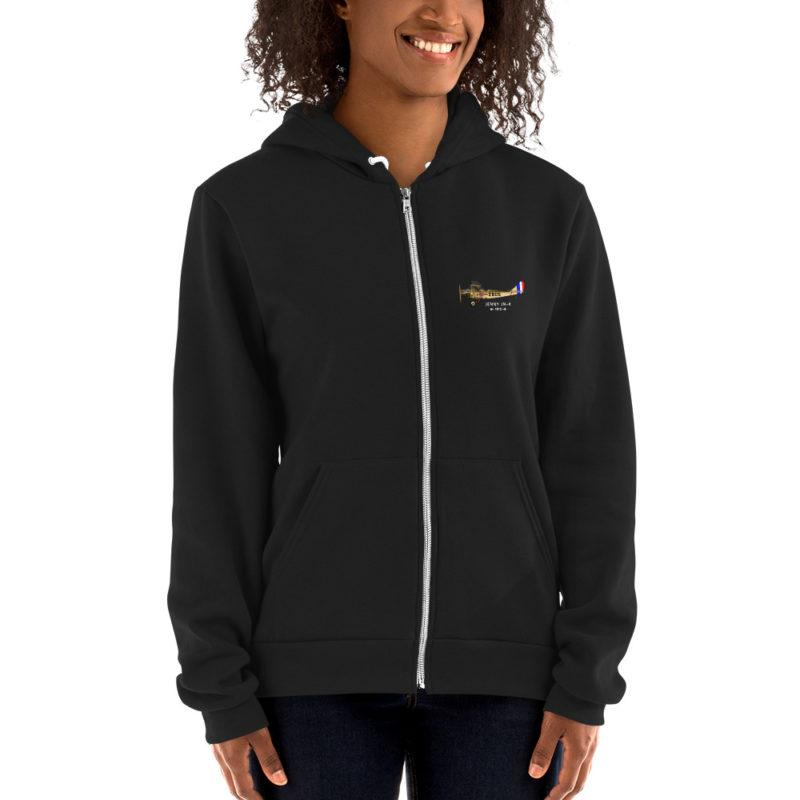 Jenny JN-4 Zip Hoodie Front BLACK