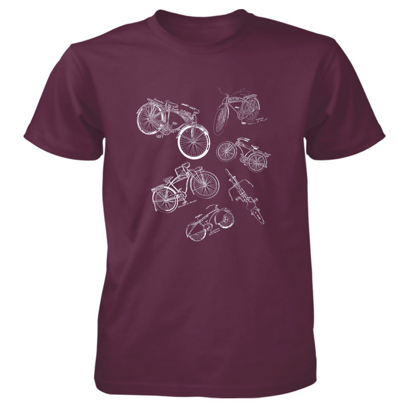 Bicycles MS-Lineart T-Shirt MAROON