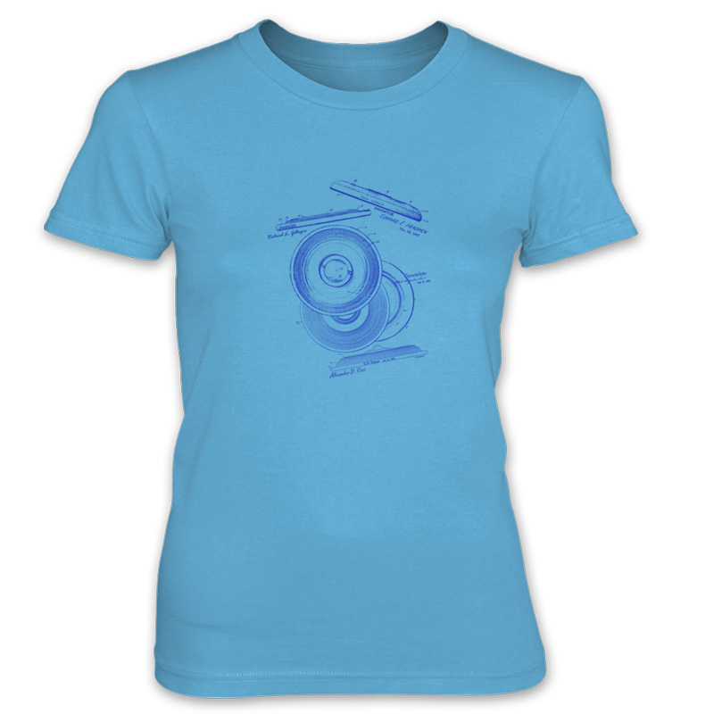 Frisbie MS-Lineart Women's T-Shirt CARIBBEAN BLUE