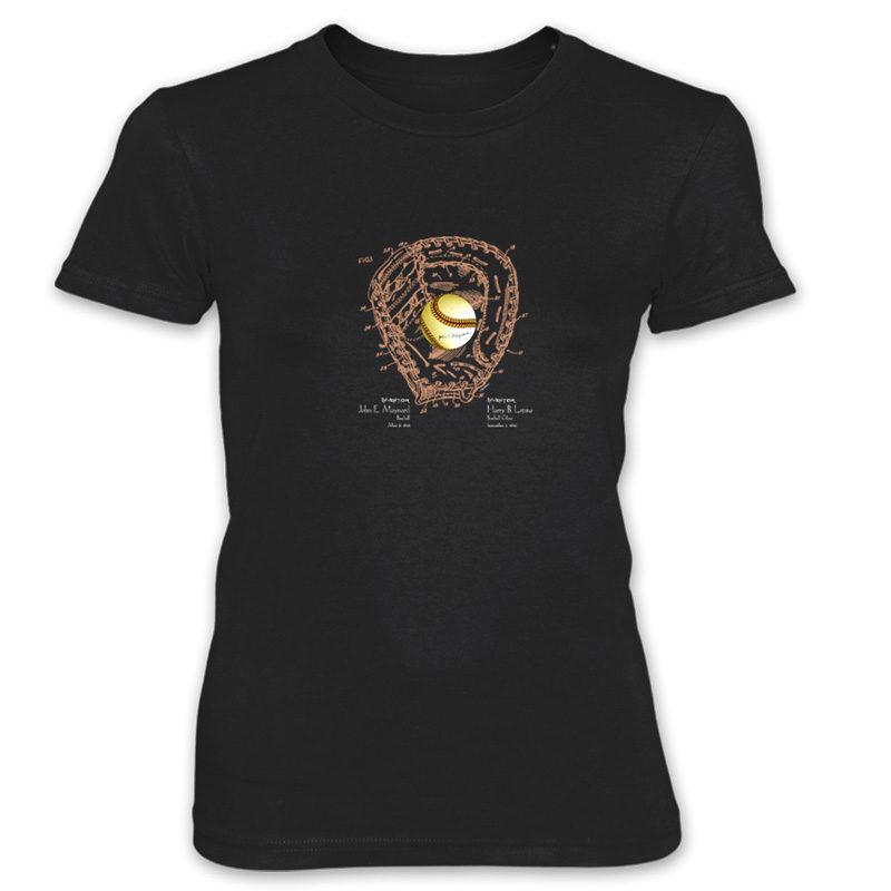 Ball & Glove Women's T-Shirt BLACK