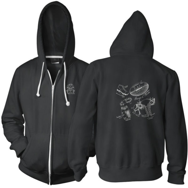 Football MS-Lineart Zip Hoodie BLACK