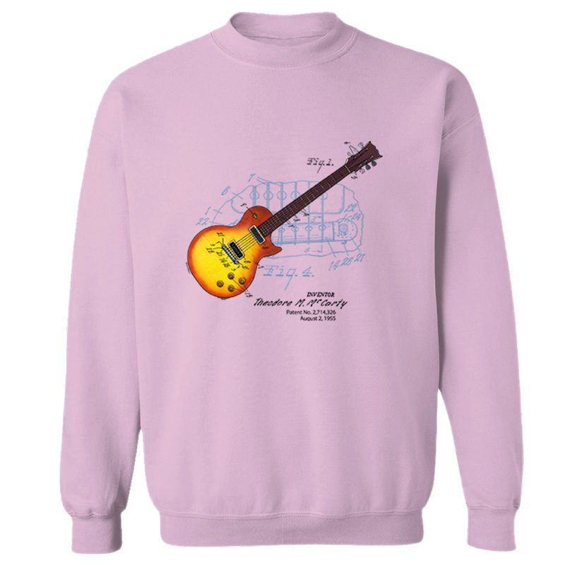 Sunburst Guitar Crewneck Sweatshirt LIGHT PINK