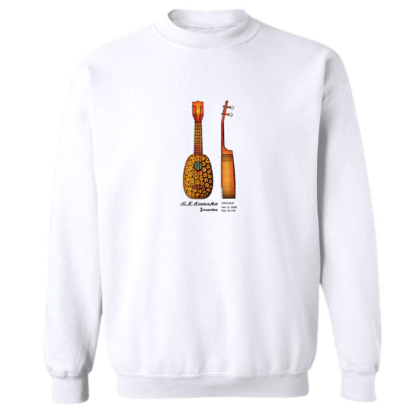 Pineapple Ukulele Crewneck Sweatshirt WHITE