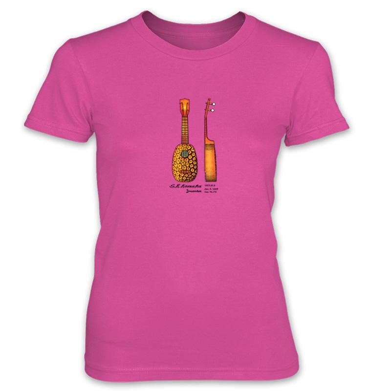 Pineapple Ukulele Women's T-Shirt HOT PINK