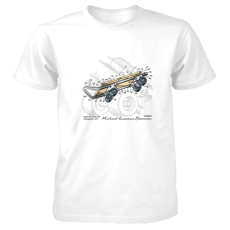Skateboard kicktail patent t shirt patentwear for How to patent a t shirt