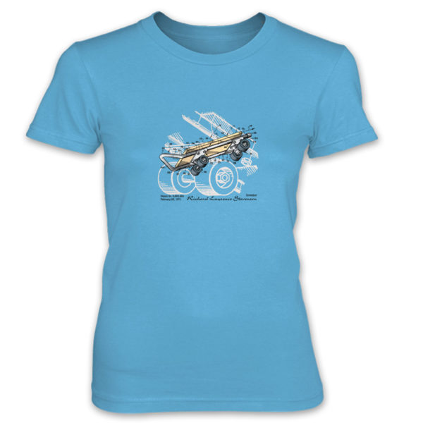 Skateboard Kicktail Women's T-Shirt CARIBBEAN BLUE