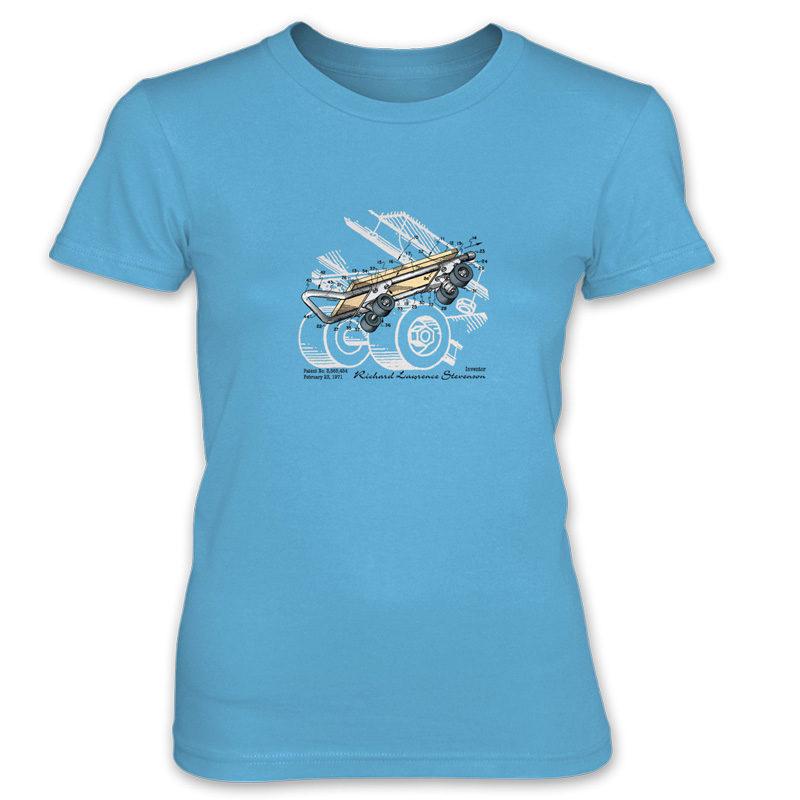 Skateboard Kicktail Women's T-Shirt CARIBBEAN BLUE