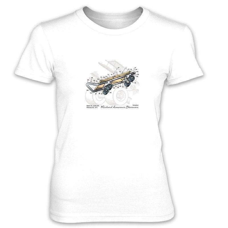 Skateboard Kicktail Women's T-Shirt WHITE