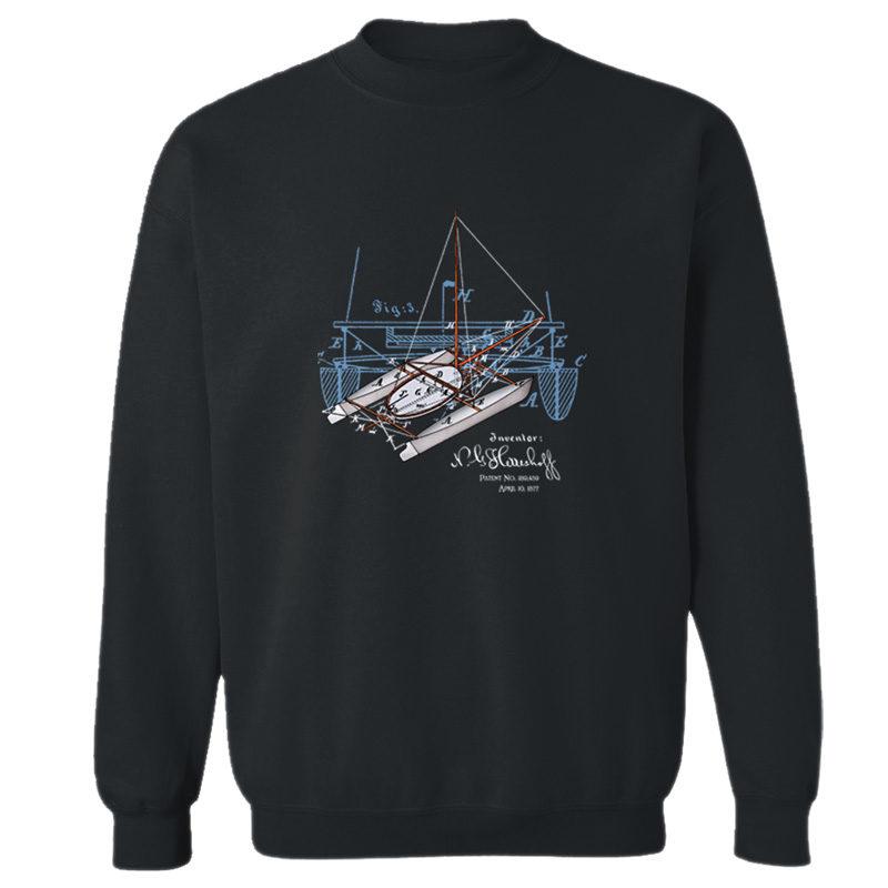 Herreshoff Catamaran Crewneck Sweatshirt BLACK