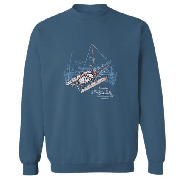 Herreshoff Catamaran Crewneck Sweatshirt INDIGO BLUE