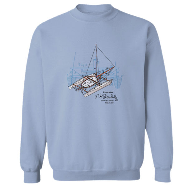 Herreshoff Catamaran Crewneck Sweatshirt LIGHT BLUE