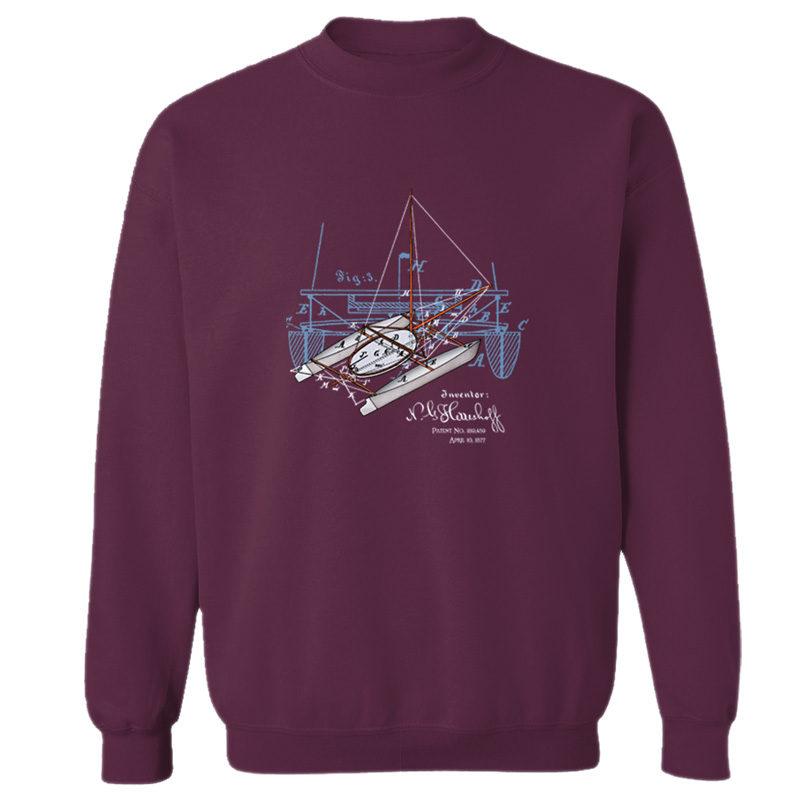 Herreshoff Catamaran Crewneck Sweatshirt MAROON
