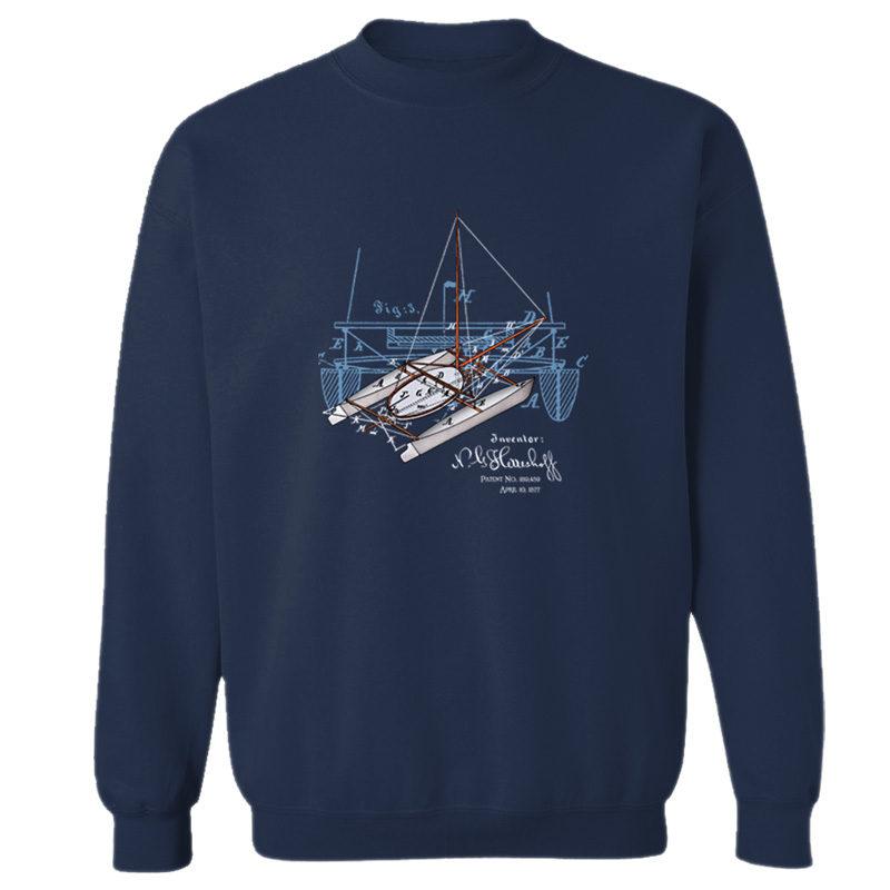 Herreshoff Catamaran Crewneck Sweatshirt NAVY