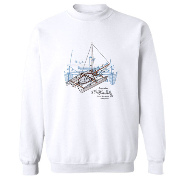 Herreshoff Catamaran Crewneck Sweatshirt WHITE