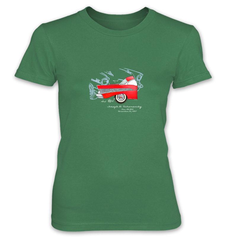 57 Chevy Women's T-Shirt KELLY GREEN