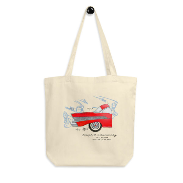 57 Chevy Patent Tote Bag hanging