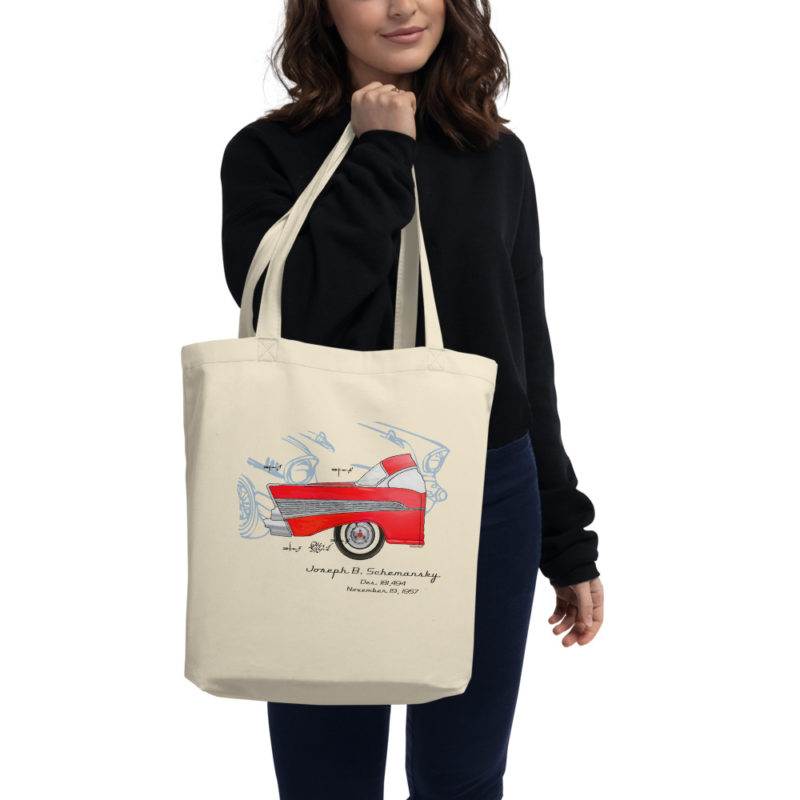 57 Chevy Patent Tote Bag in action