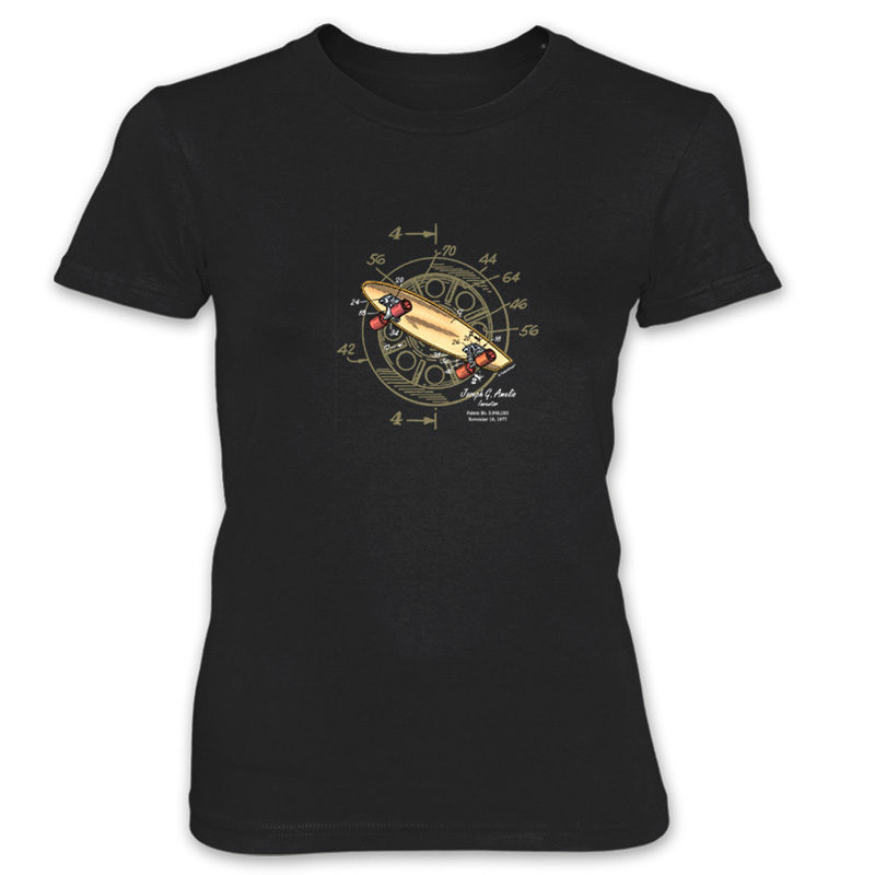 Skateboard-Wheels Women's T-Shirt BLACK
