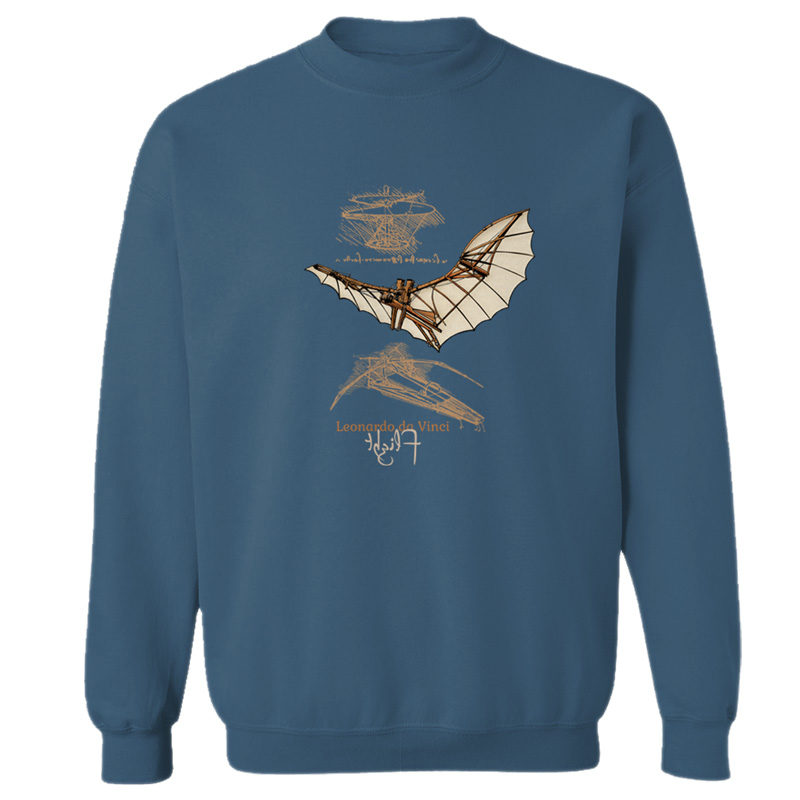da Vinci Flight Crewneck Sweatshirt INDIGO BLUE