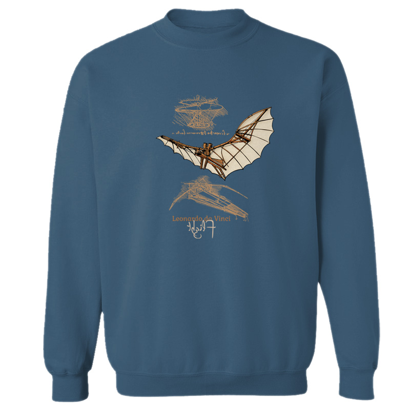 da Vinci Flight Crewneck Sweatshirt INDIGO BLUE