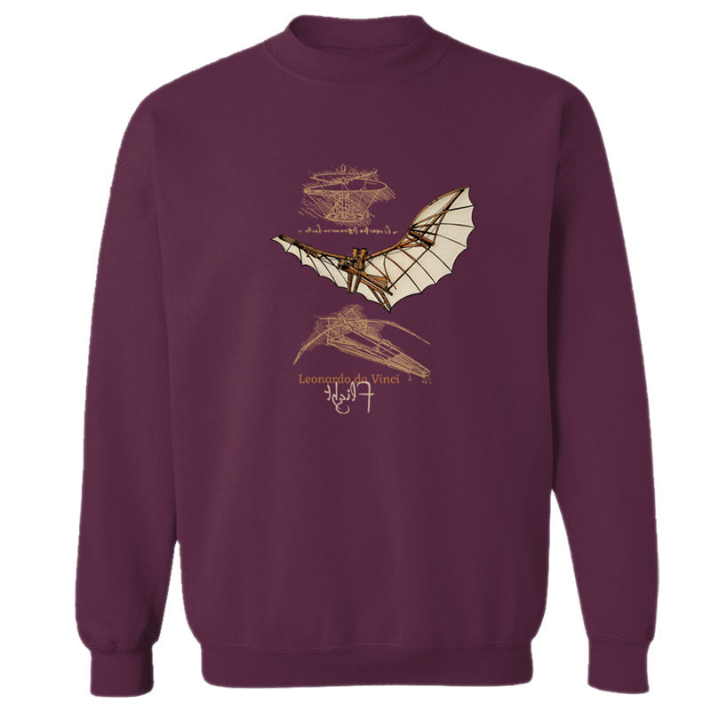 da Vinci Flight Crewneck Sweatshirt MAROON
