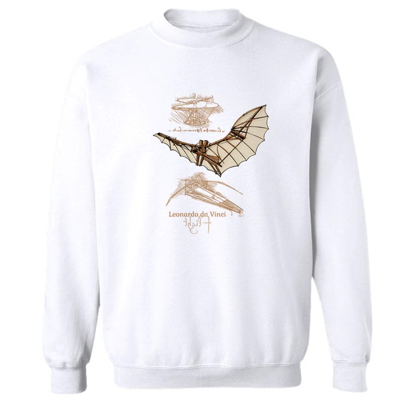 da Vinci Flight Crewneck Sweatshirt WHITE