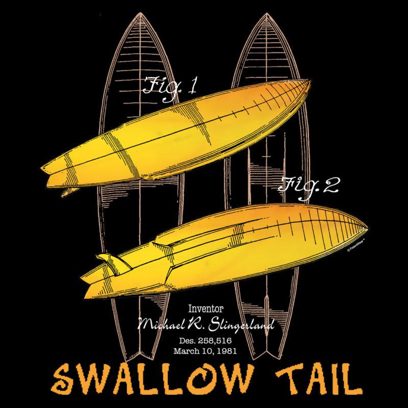 Surfboard-Swallow Tail Design on Darks