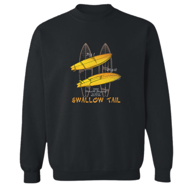 Surfboard-Swallow Tail Crewneck Sweatshirt BLACK