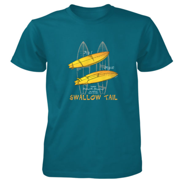 Surfboard-Swallow Tail T-Shirt GALAPAGOS BLUE