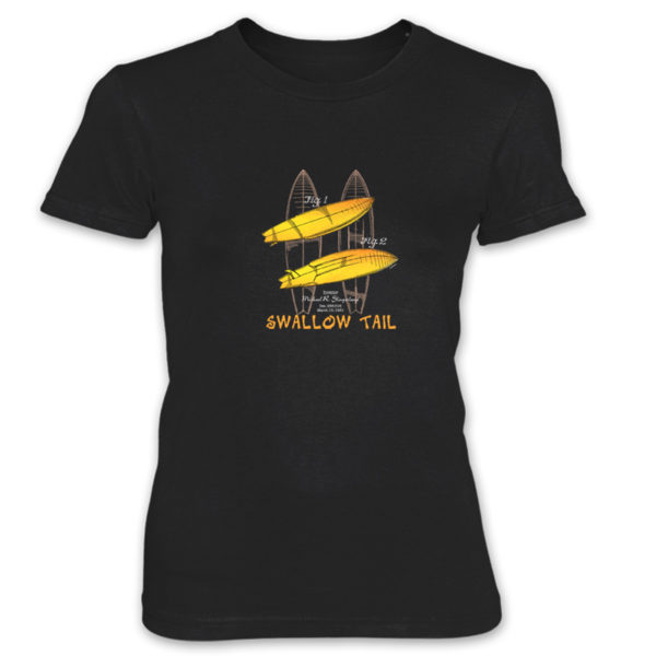 Surfboard-Swallow Tail Women's T-Shirt BLACK