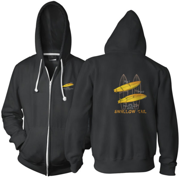 Surfboard-Swallow Tail Zip Hoodie BLACK