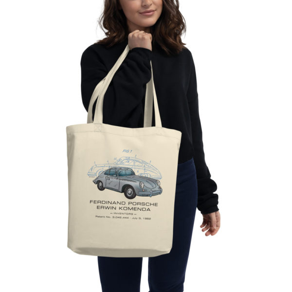 Porsche 356 Patent Tote Bag in action