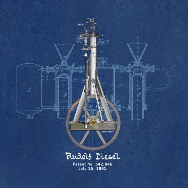 Diesel Engine Design on Blueprint Background CANVAS
