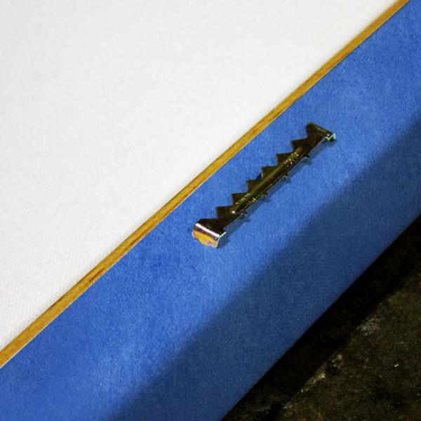 Canvas hanging hardware close-up