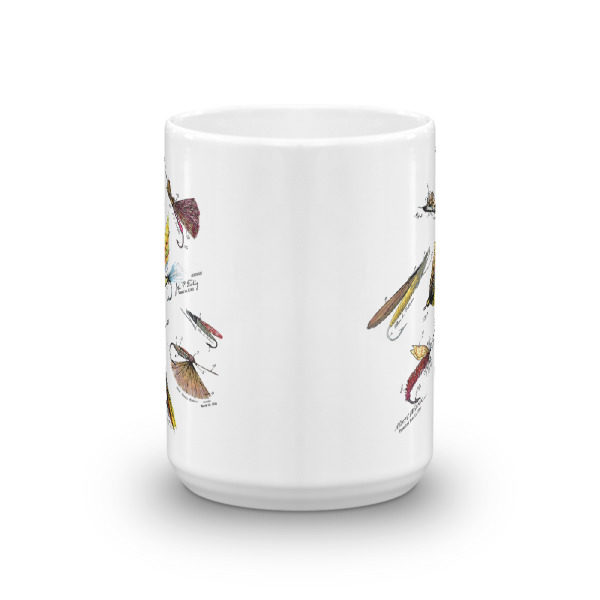 Fly Fishing Flies MS-Color 15oz Mug FRONT VIEW