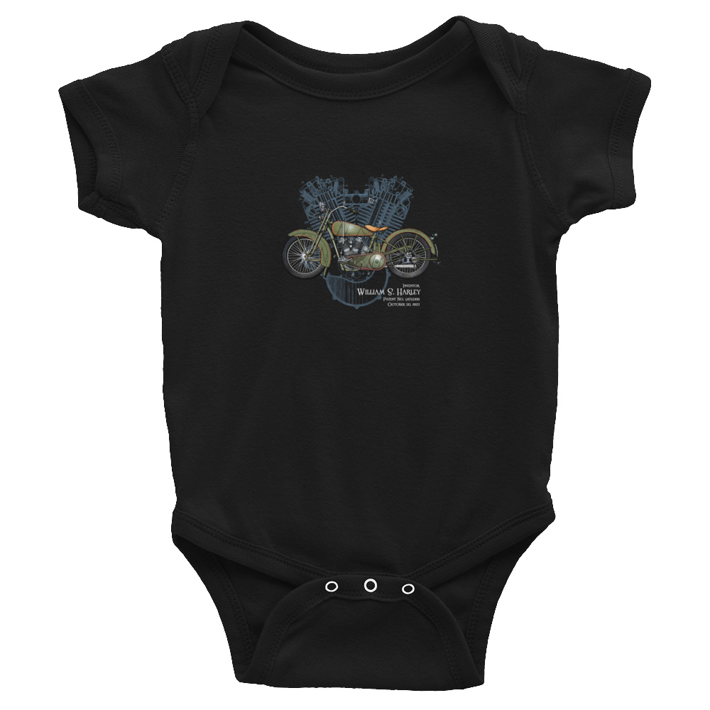 William S. Harley Wee Onesie BLACK