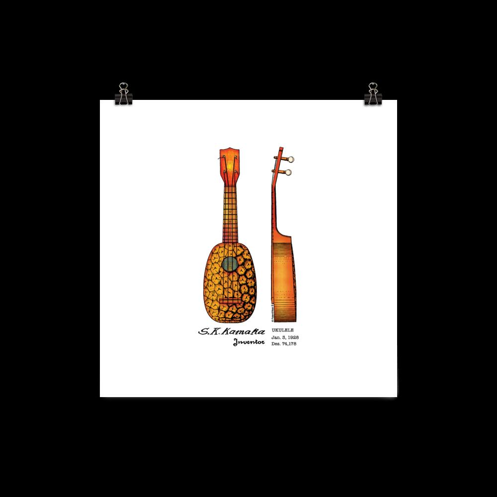 Pineapple Ukulele Wall Art 1 UNFRAMED 10x10