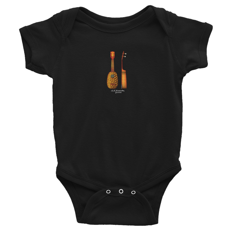Pineapple Ukulele Wee Onesie BLACK
