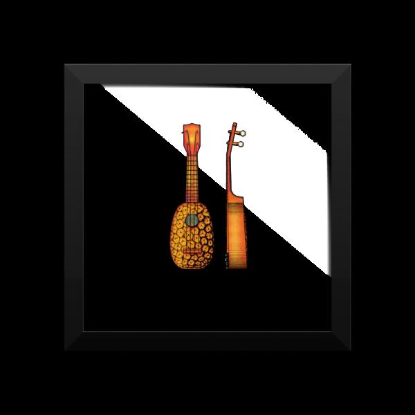 Pineapple Ukulele Wall Art 1 10x10 FRAMED