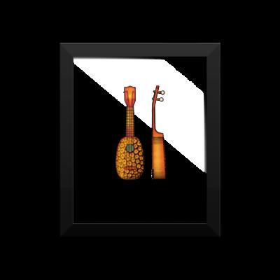 Pineapple Ukulele Wall Art 1 8x10 FRAMED