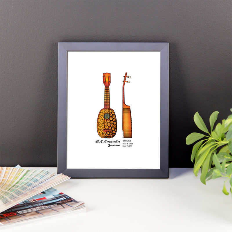 Pineapple Ukulele Wall Art 1 8x10 FRAMED