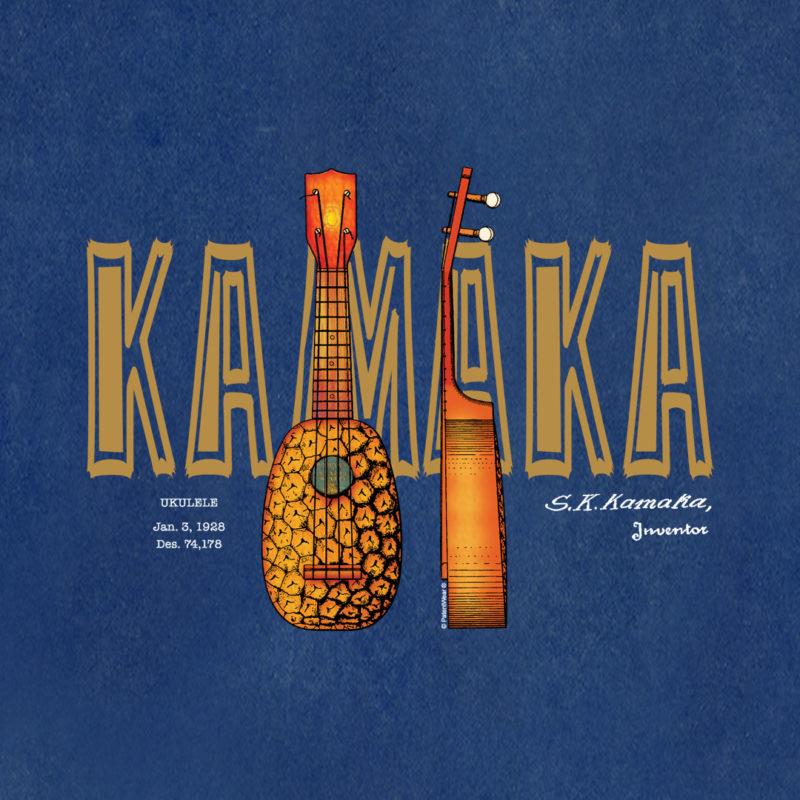 Pineapple Ukulele Design on Blueprint Background
