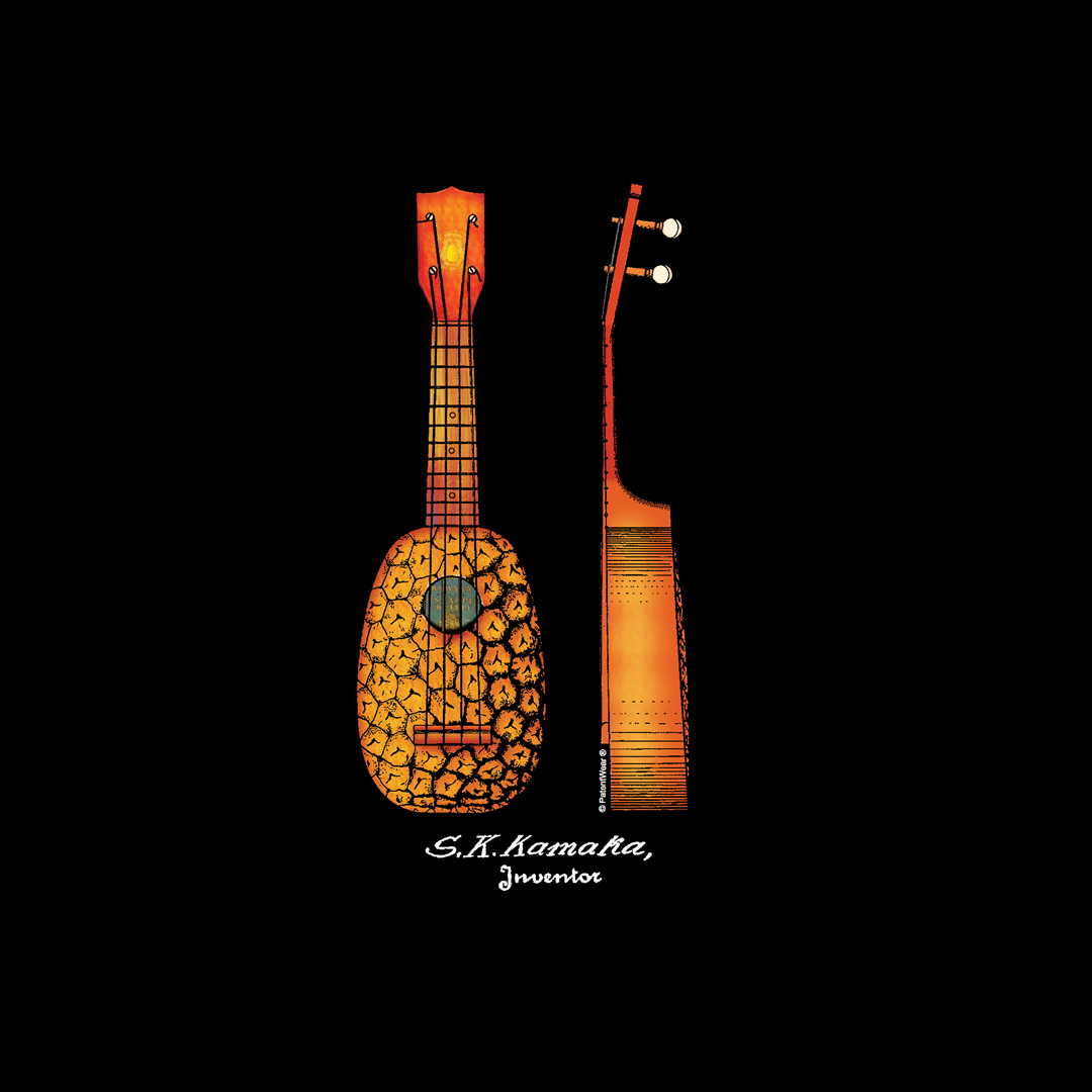 "Pineapple Ukulele ""Pocket"" Design on Darks"