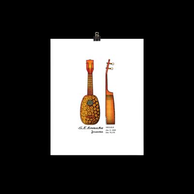 Pineapple Ukulele Wall Art 1 UNFRAMED 8x10
