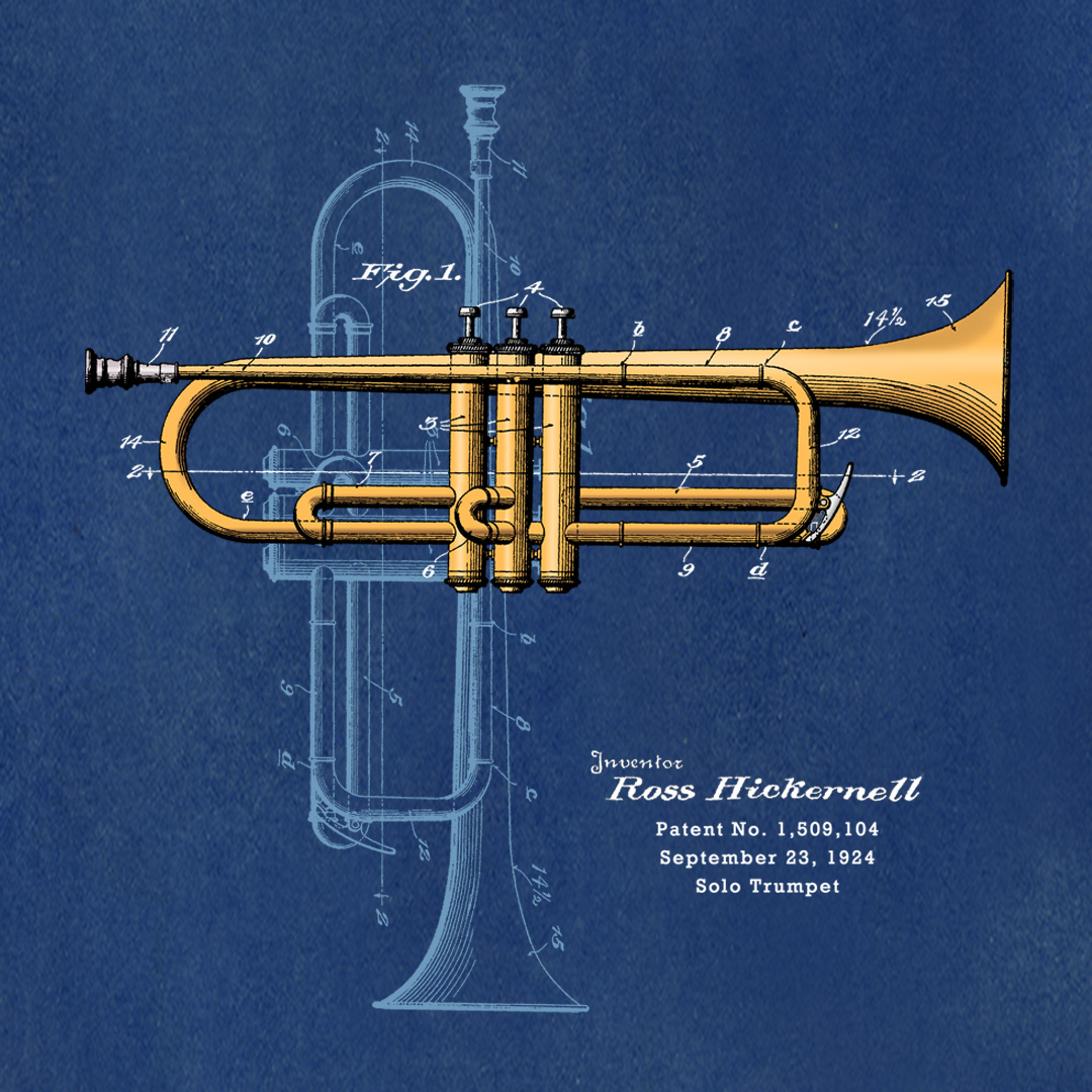 Trumpet Solo Design on Blueprint Background