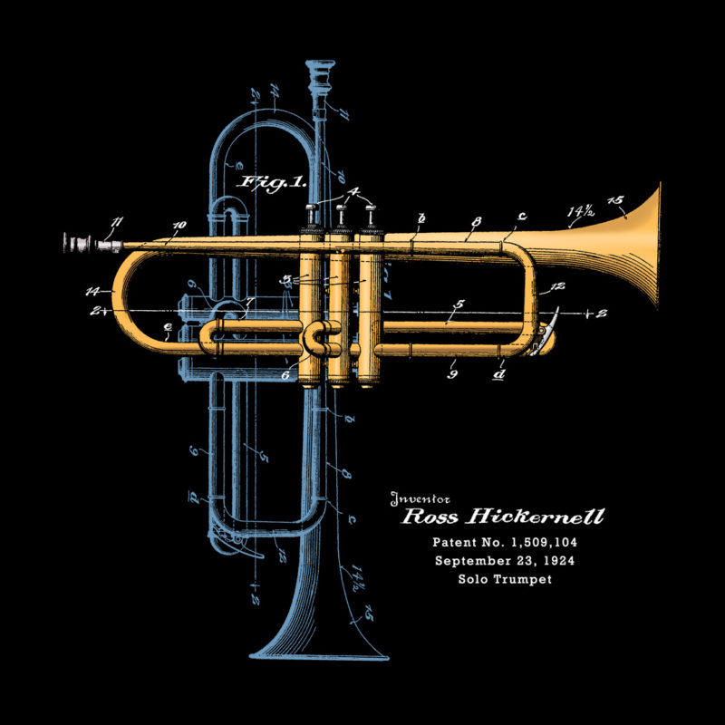 Trumpet Solo Design on Darks