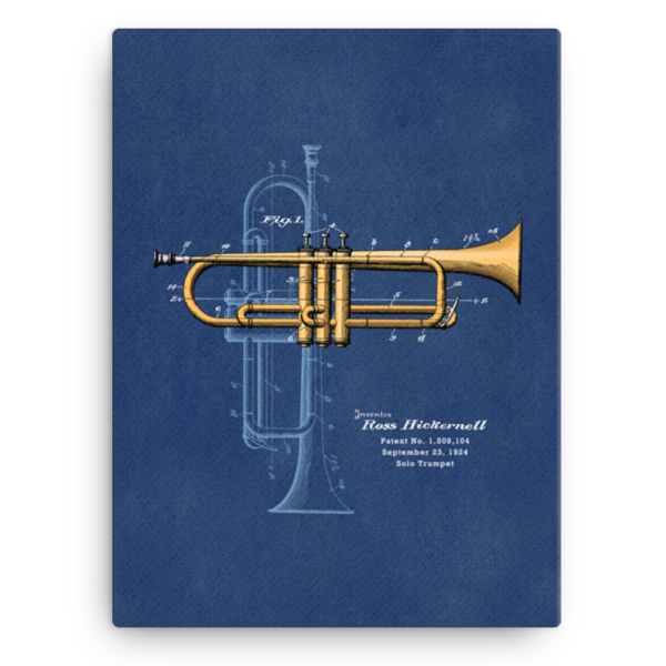 Trumpet Solo Wall Art CANVAS 12x16