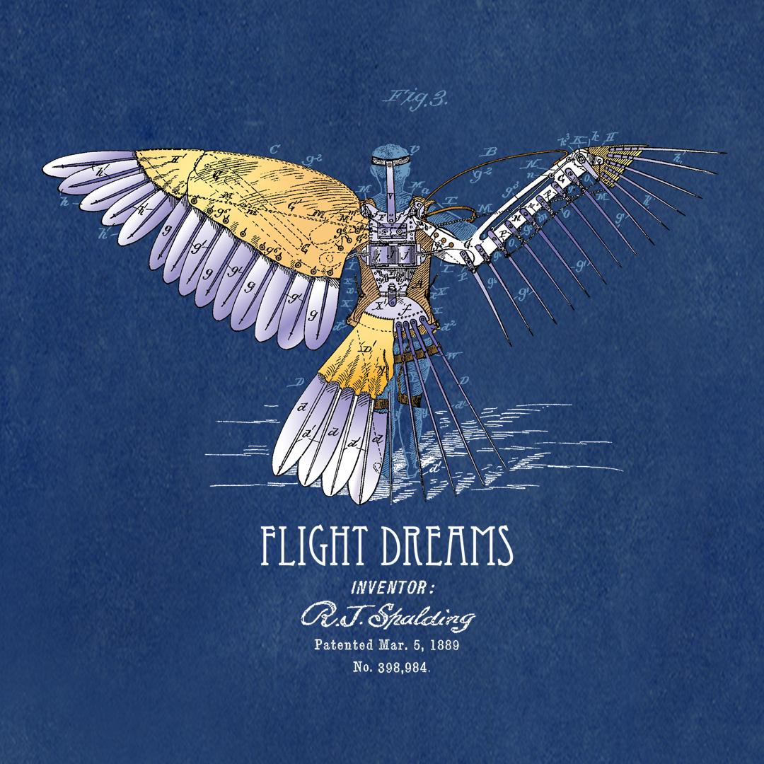 Flight Dreams Design on Blueprint Background